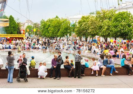 Belarussian People Near Fountain