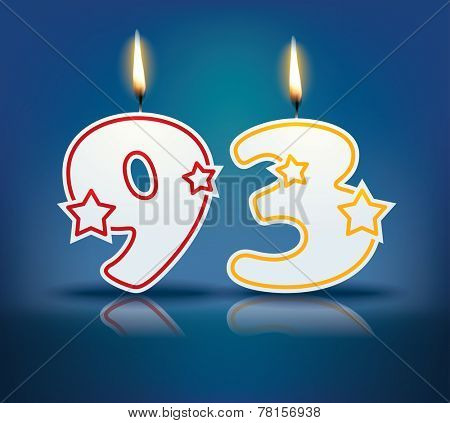 Birthday candle number 93 with flame - eps 10 vector illustration