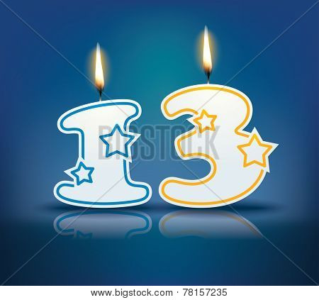 Birthday candle number 13 with flame - eps 10 vector illustration