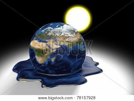 Global warming concept of Earth melting into a liquid pool under the heat of the sun, parts of this