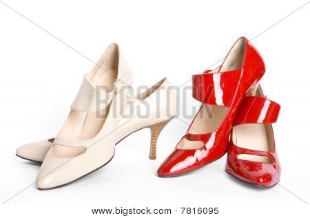 Two pairs new elegant ladies' shoes on a high heel