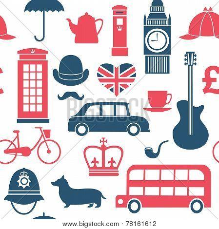 British Symbols Seamless Pattern