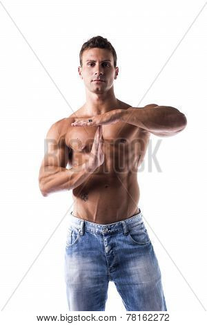 Fit Shirtless Muscle Man Gesturing Time Out Sign With His Hands