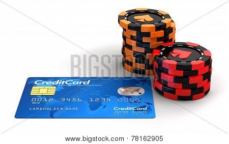 Casino chip stacks and Credit Card