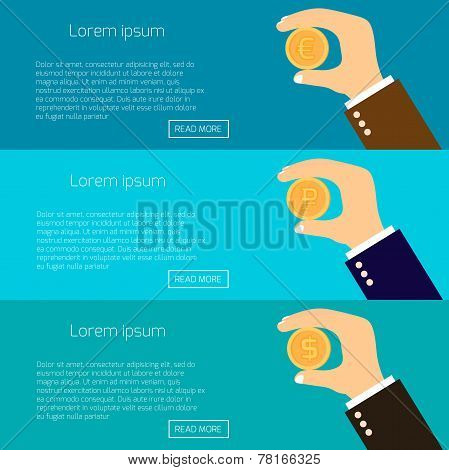 Vector Illustration Of Hands Holding Gold Coins Of Dollar, Euro And Ruble