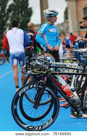 Competitors Preparing Before Triathlon Race