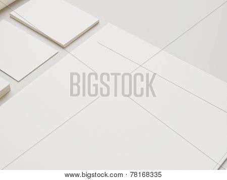 White Envelope And Cards On White Paper Background