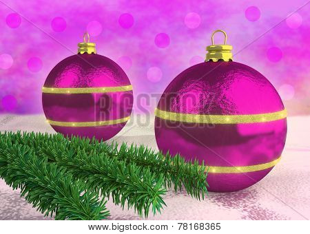Purple Christmas balloons decorated with spruce twigs