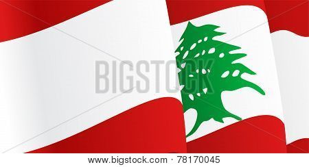 Background with waving Lebanese Flag. Vector