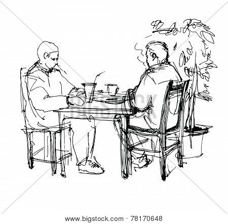 Sketch Of Two Friends In A Cafe At A Table Drinking Tea Coffee