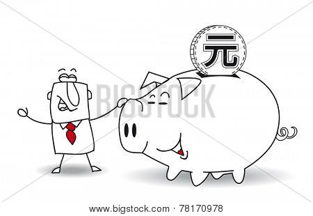 Piggy bank and yuan. This business man saves money in his Piggy bank . It's a metaphor. It's a good plan for the future