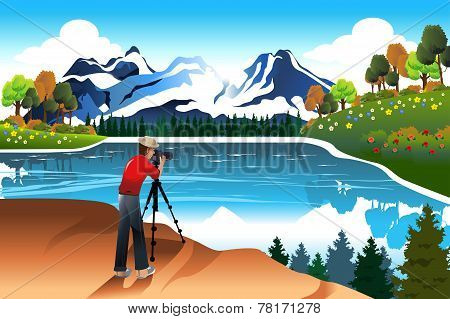 Photographer Taking Picture Of A Beautiful Nature