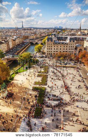 Paris Cityscape As Seen From The Top Of Notre Dame De Paris