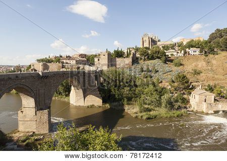 Saint Martin Bridge over the Tagus river. Toledo. Spain.