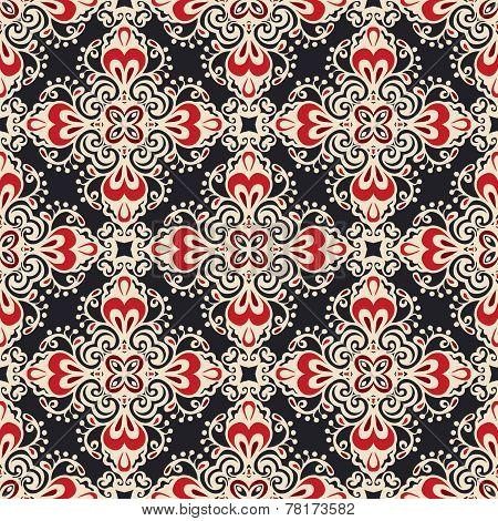 Damask seamless ornamental  motif vector pattern