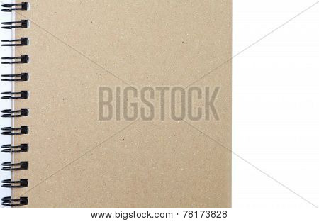 Brown notebook cover on white background