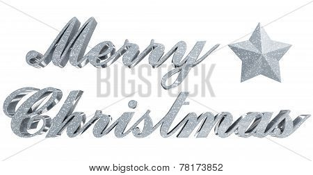 Merry Christmas Greeting, Sparkled 3D Letters And Star On White
