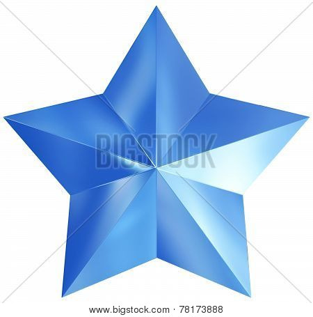 Christmas Star Blue 3D Isolated
