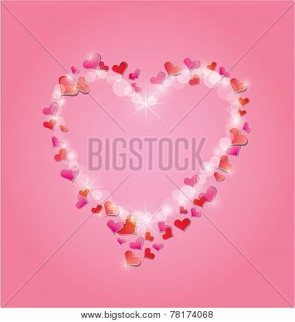 Valentine's Day Or Wedding Pink Background With Red Hearts Confetti And Lights. Holidays Frame In He