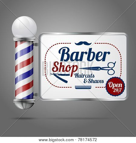 Realistic vector - old fashioned vintage silver and glass barber shop pole with Barber Sign.