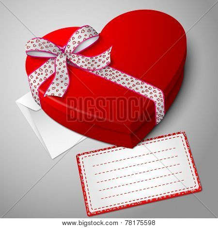 Vector realistic blank bright red heart shape box, with envelope and message card for your text.