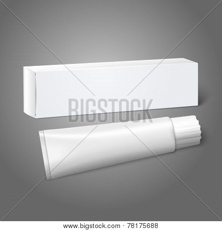 Realistic white blank paper package box with tube for oblong stuff - toothpaste, cosmetics, medicine