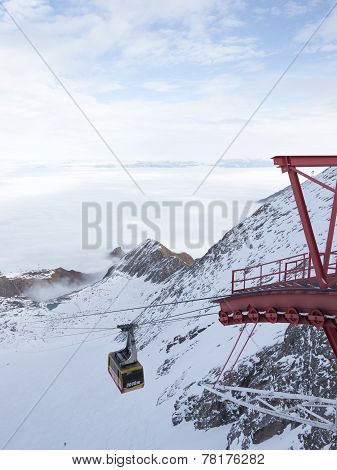 Cable Car And Mountains