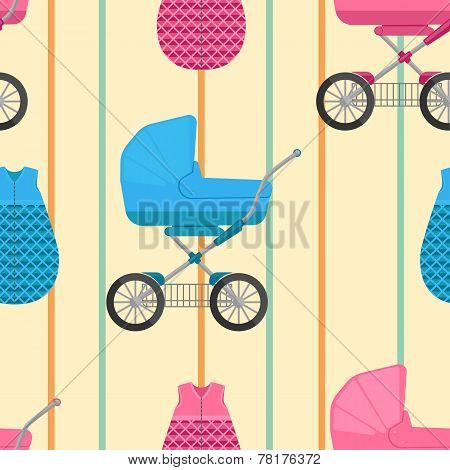 seamless pattern of baby sleeping bags and buggies with vertical