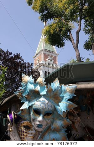 Typical Venetian Carnival Mask and St.Mark Bell Tower