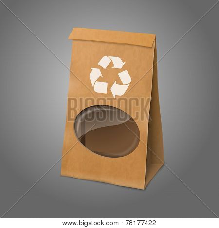 Blank craft vector realistic paper packaging bag with recycle sign and transparent window.