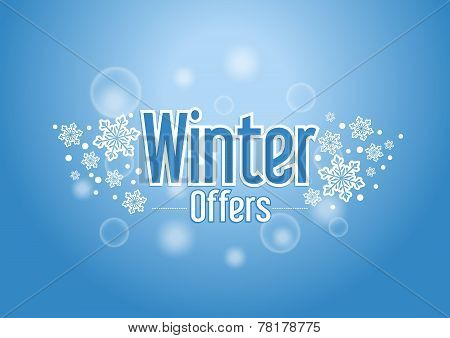 Winter Offers Word with Snows in Blue Background