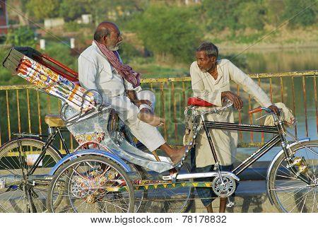 Unidentified rickshaws wait for passengers on March 25, 2007 in Varanasi, India.