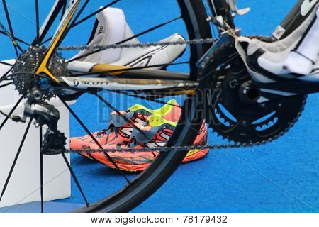 Prepared Bicycle Equipment For Triathlon