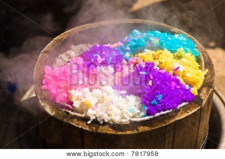 Five-coloured Rice In Bamboo Steamer