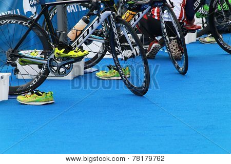 Many Bicycles Prepared For Triathlon