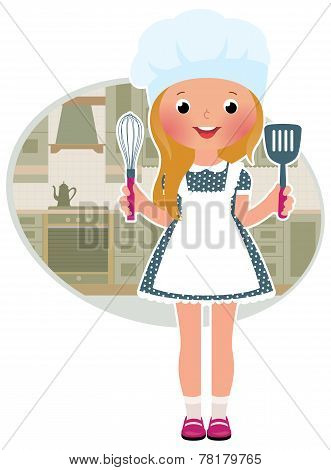 Girl Cook In The Kitchen