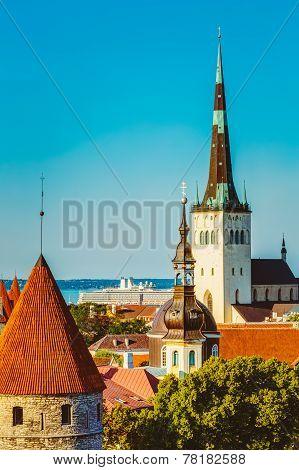 Scenic View Landscape Old City Town Tallinn In Estonia