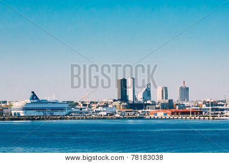 Skyline Of Tallinn And Harbour, Coast, Port.