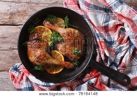 Appetizing Roasted Duck Leg In A Pan Top View, Horizontal