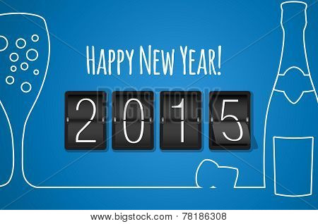 Happy New Year 2015 - Blue Flat Design Background