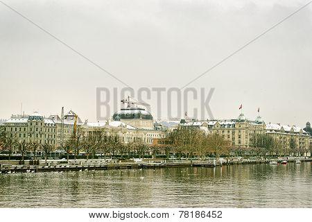 Zurich City Center Winter View