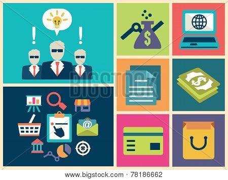 Flat Design Vector Of E-commerce Symbols