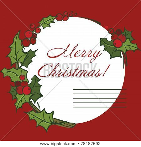 Christmas Greeting Card. Merry Christmas Lettering, Vector Illustration