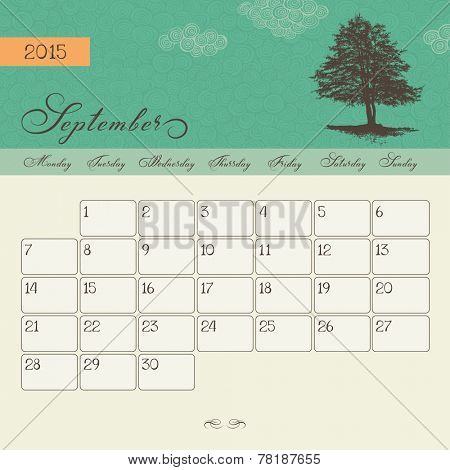 Calendar for September 2015 starting Monday, vector calendar set