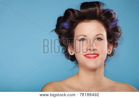 Girl With Curlers In Hair, Woman Preparing To Party.