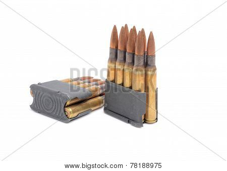 M1 Garand Clips And Ammunition Of White Background.