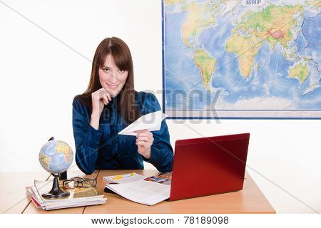 Employee Travel Company With An Airplane In Hand