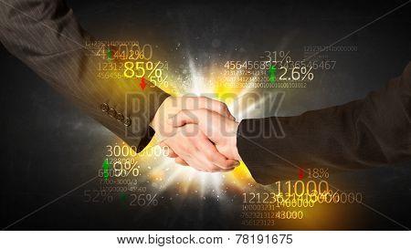 Business Handshake with number analysis