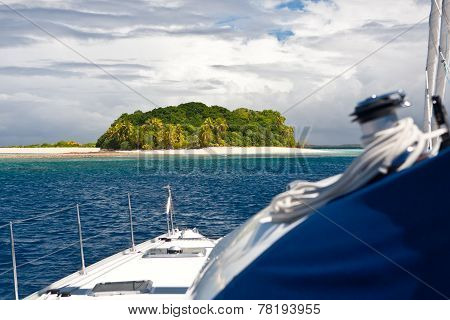 Tropical Island and Sailboat