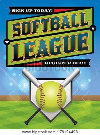 Softball League Registration Illustration